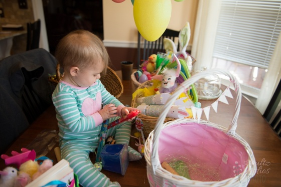 Checking out her Easter Basket